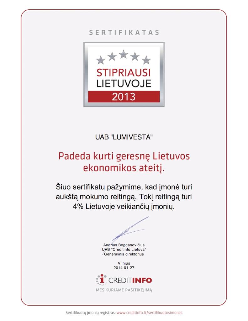 LUMIVESTA-stipriausi-lietuvoje-sertifikatas-2013